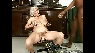 Interracial granny fuck